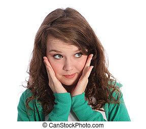 stora blåa öga, av, snopen, brunett, tonåring, flicka