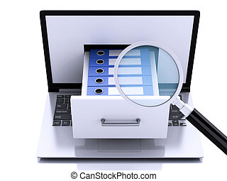 storage., 3d, ordinateur portable, anneau, binders., données