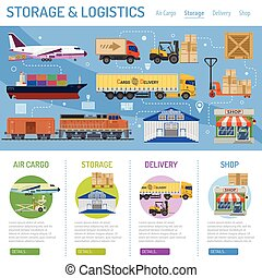 Storage and delivery infographics