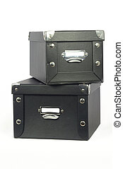 Storage Boxes - Leather covered storage boxes with blank...