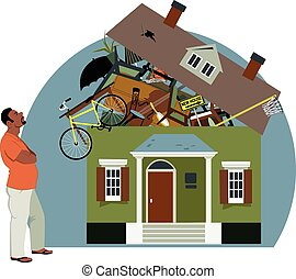 Distressed black man looking at a house bursting with stuff, vector illustration, EPS 8