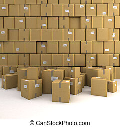Storage - Huge pile of cardboard boxes, forming a wall,...