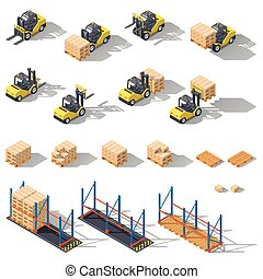 Storage equipment isometric icon set. Presented forklifts in various combinations, warehouse racks, pallets with goods.