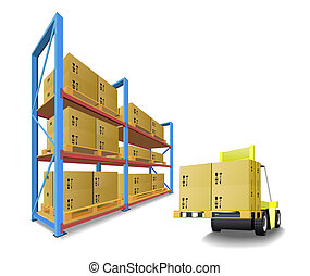 Racks, trays, boxes and forklifts in the warehouse are shown in the picture.