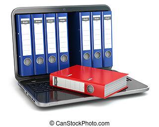 storage., fichier, ordinateur portable, anneau, binders., données