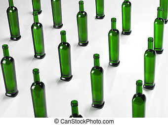 STORAGE GLASS BOTTLES ORDERED IN ROWS