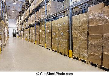 Storage in warehouse - Metal Storage in a warehouse with...