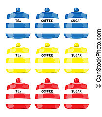 Kitchen storage jars for tea, coffee and sugar in primary colours. EPS10 vector format