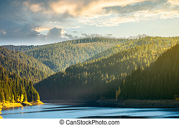 storage lake reservoir in mountain