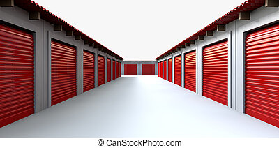 Storage Lockers Perspective - A perspective view of a row of...