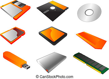 Storage media clipart - Storage media, vector illustrations,...