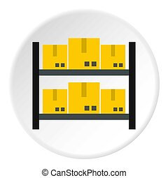 Storage of goods icon, flat style