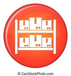 Storage of goods in warehouse icon, flat style