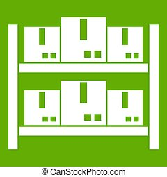 Storage of goods in warehouse icon green