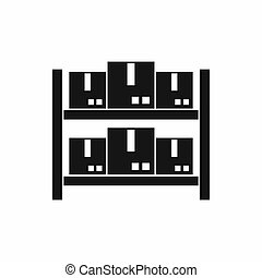 Storage of goods in warehouse icon, simple style