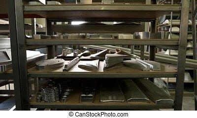 Storage of steel parts. New metal details on shelves.