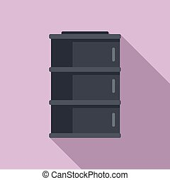 Storage oil barrel icon, flat style