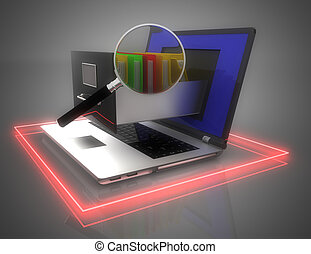 storage., ordinateur portable, illustration, fichier, données, cabinet., 3d