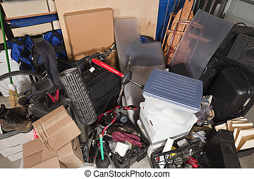 Storage Pile - Storage pile of sporting gear, music...