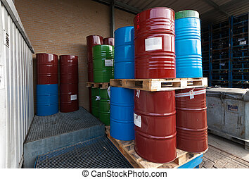 oil barrels - storage place of empty and rejected oil...