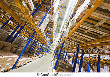 Storage racks - Shelves, full of boxes in a huge warehouse,...