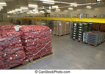 interior of storage of fruit and vegetable packages