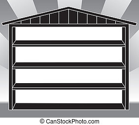 Storage shed with shelves in black and white silhouette. EPS8 compatible.