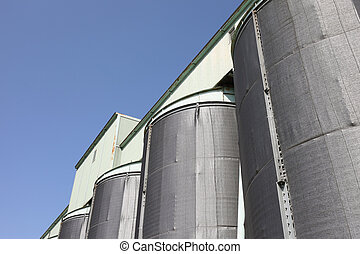 silo - storage silo and blue sky