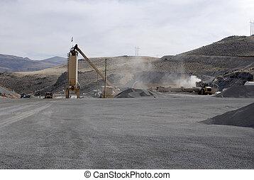 Storage silo at an asphalt batch plant, Nevada, USA