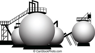 Industrial processing of a storage tank. Vector illustration.