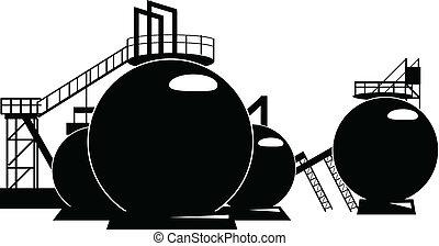 Storage tanks - Industrial processing of a storage tank. ...