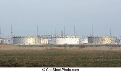 Storage tanks of petroleum products. Oil and chemical...