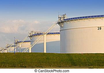 Storage tanks - Oil storage tanks in the evening light