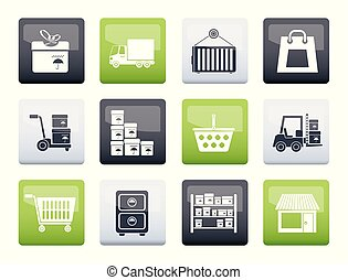 Storage, transportation, cargo and shipping icons over color background