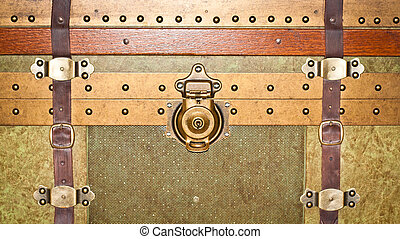 Close up of a vintage storage trunk