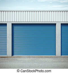 storage units with blue doors. 3d rendering
