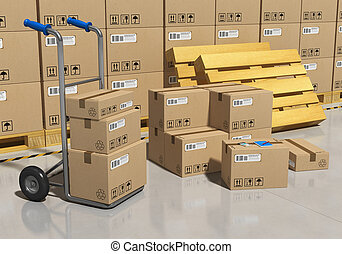 Interior of storage warehouse with goods packaged in cardboard boxes and hand truck All text labels, numbers and barcodes are fully abstract
