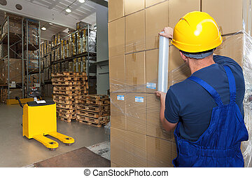 Storage work executing by warehouse worker