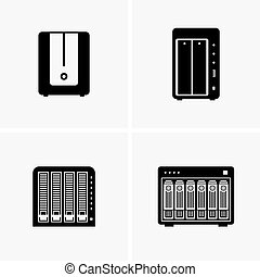 storages, attaché, réseau