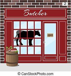 store., 肉, 肉屋, shop.