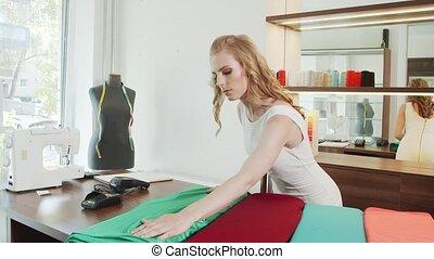 store., 배열, 노동자, 직물, rolls, 직물