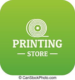 Store 3d printing icon green vector