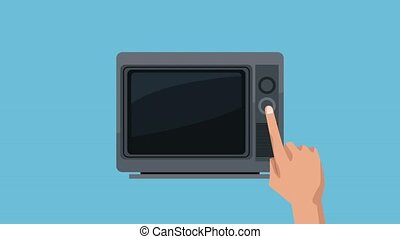 Store advertising in television - Hand turn on TV to watch...