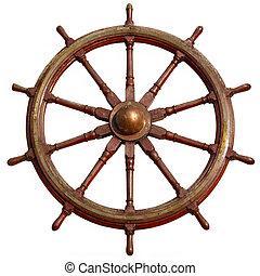 store, af træ, skib, hjul, isoleret, på, white.