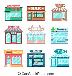 Store and shop buildings flat icons set. Fast food, fish...