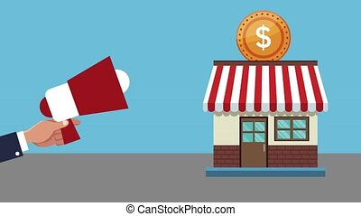 Store and shopping HD animation - Hand with bullhorn...