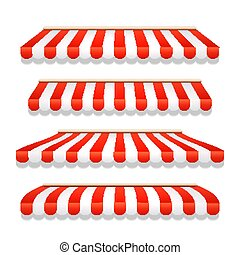 Store awning shop canopy. Store tent red striped roof front...