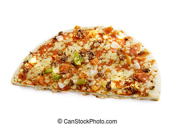 Half of a store bought pizza on a white background.