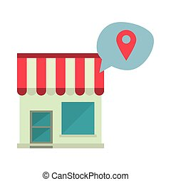 store building facade with speech bubble and pin location