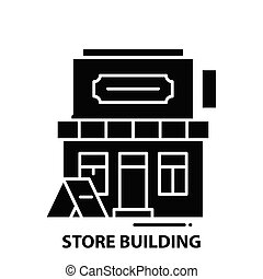 store building icon, black vector sign with editable strokes, concept illustration
